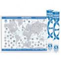 """Стираемая карта мира (скретч-карта) """"Моя планета"""", 59х42 см (синяя, стираемый слой - серебро)"""