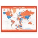 """Скретч-карта мира А2 """"Премиум"""", бело-оранжевая"""