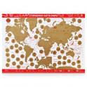 """Стираемая карта мира (скретч-карта) """"Present Edition"""", 42х59 см (красная, стираемый слой - золото)"""