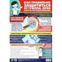 """Плакат """"Как правильно защититься от гриппа, ОРВИ и других вирусных инфекций"""", формат А3"""