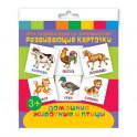 """Развивающие карточки """"Домашние животные и птицы"""" (12 штук)"""